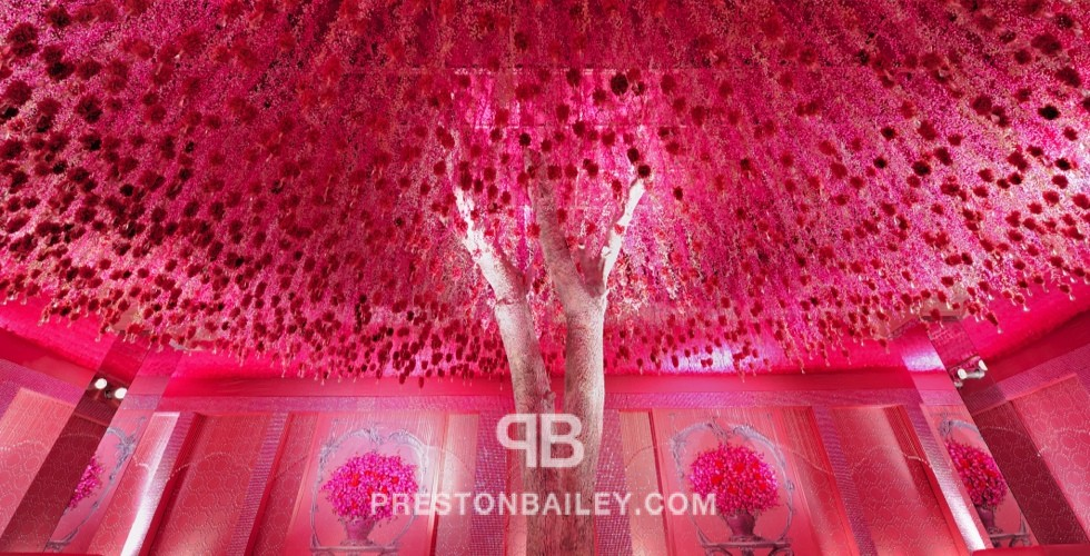 ballroom branches ceiling treatment corporate event crystal garland floral screen flowers hanging votive tree wall installation color|pink color|purple color|silver color|violet