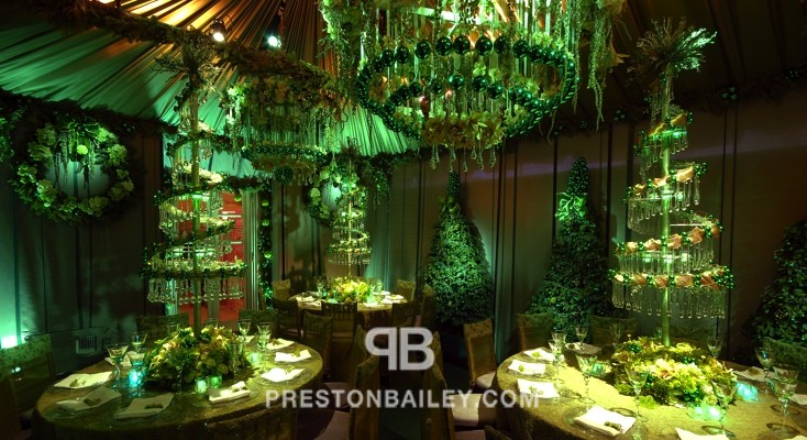 centerpiece christmas crystal garland dining flowers holiday inspirations lighting & projection reception round tables table setting tall centerpiece tent topiary color|green