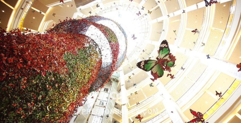 art installation chandelier color|black color|green color|red color|white color|yellow butterfly