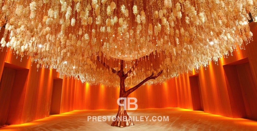 ballroom ceiling treatment chandelier cocktail draping color|gold